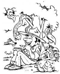 Раскраски отдых на природе раскраски для детей, природа, отдых на природе, мальчик, животные, дерево