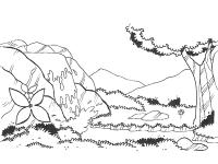 Скачать или распечатать раскраску распечатать скачать, горный лес