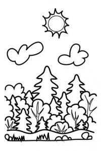 Раскраски лес и пейзажи раскраска лес,облака,ель,кустарник,солнышко