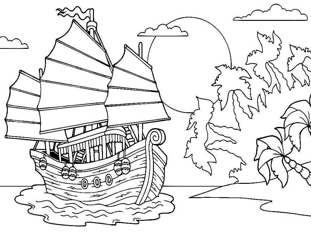 Скачать или распечатать раскраску распечатать скачать, корабль возле острова