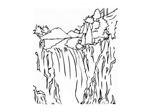 Раскраски пейзаж раскраска пейзаж,водопад,горы,деревья,вода