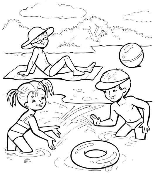 Раскраски море раскраски для детей, природа, отдых на природе, дети, море, пляж, озеро