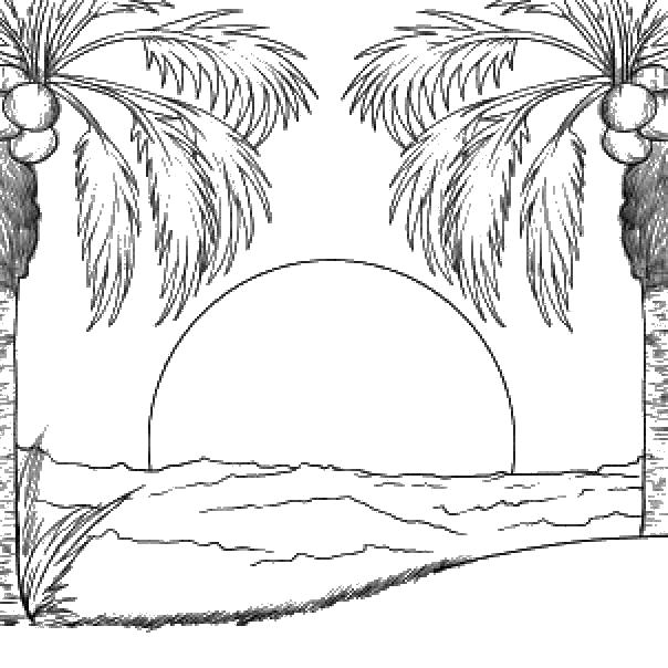 Раскраски море явления природы, закат, солнце, океан, море, пальмы