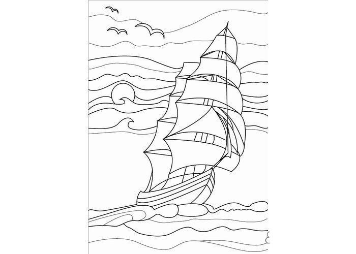 Раскраски море корабль, море, птицы, волны