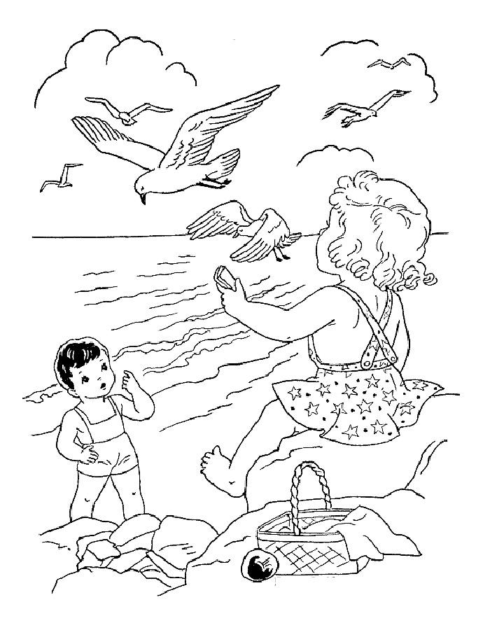 Детские раскраски для девочек и мальчиков. дети кормят чаек