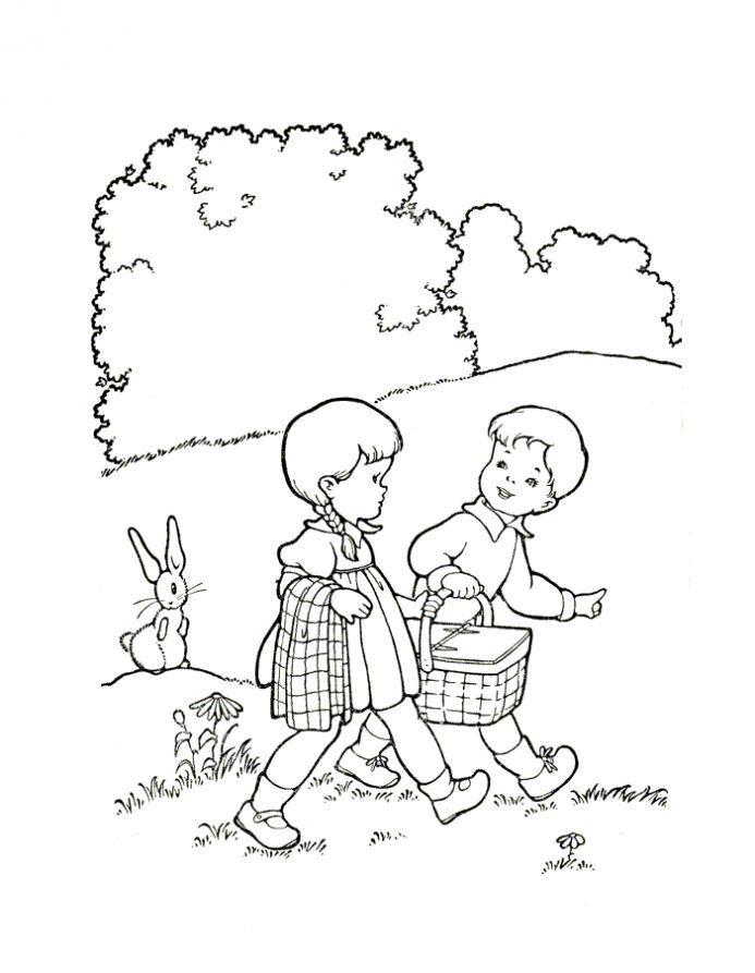 Раскраска дети летом, поход в лес