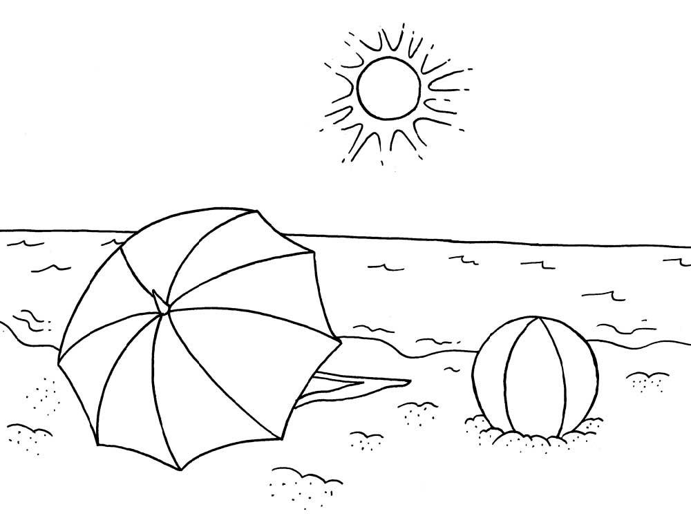 Раскраска море, зонтик лежит на пляже