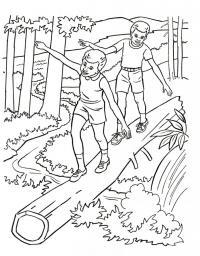 Раскраска дети в лесу