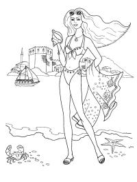 Раскраска девочка на пляже. раскраска разукрашка детская, парусник, ракушка, краб, купальник, девушка у моря, раскраска бесплатно