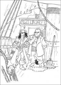 Распечатать раскраску пираты карибского моря, на палубе