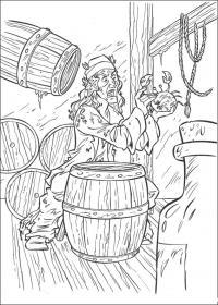 Распечатать раскраску пираты карибского моря, старый пират с крабом