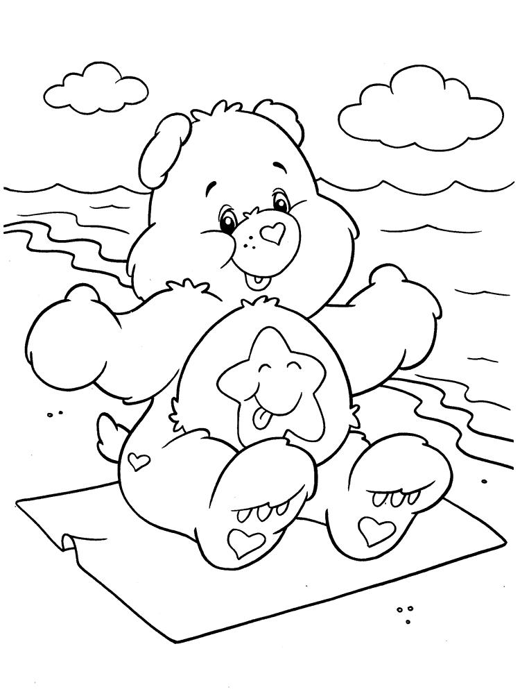 На берегу теплого моря. раскраски заботливые мишки