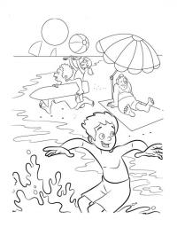 Раскраска лето море, пляж, отдых под зонтиком, игры детей