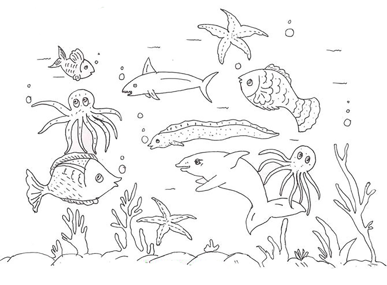 Раскраска. подводный мир