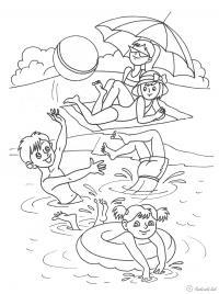 Раскраски дети праздник 1 июня день защиты детей дети игра лето пляж озеро море