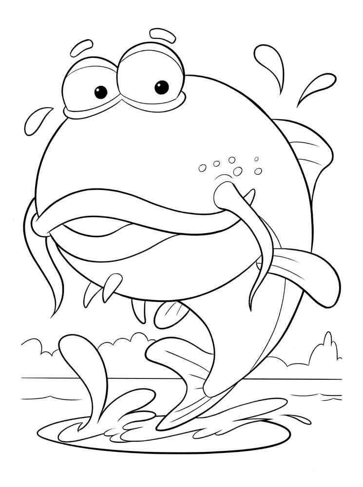 Рыбка выпрыгивает из воды, скачать или распечатать раскраску распечатать скачать