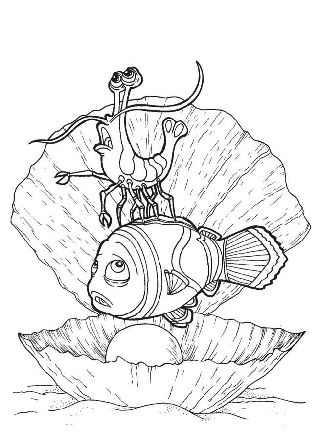 Раскраски рыба природа подводный мир жемчужина рак рыба