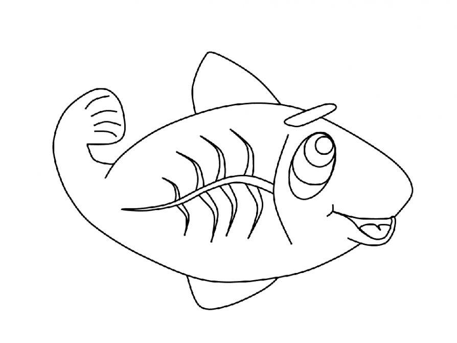 Разукрашка рыба детская
