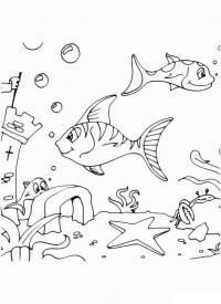 Рыбки возле замка, скачать или распечатать раскраску распечатать скачать