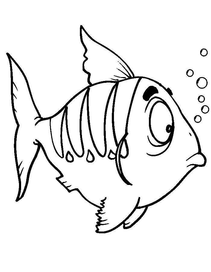 Детские раскраски для девочек и мальчиков, удивленная рыбка