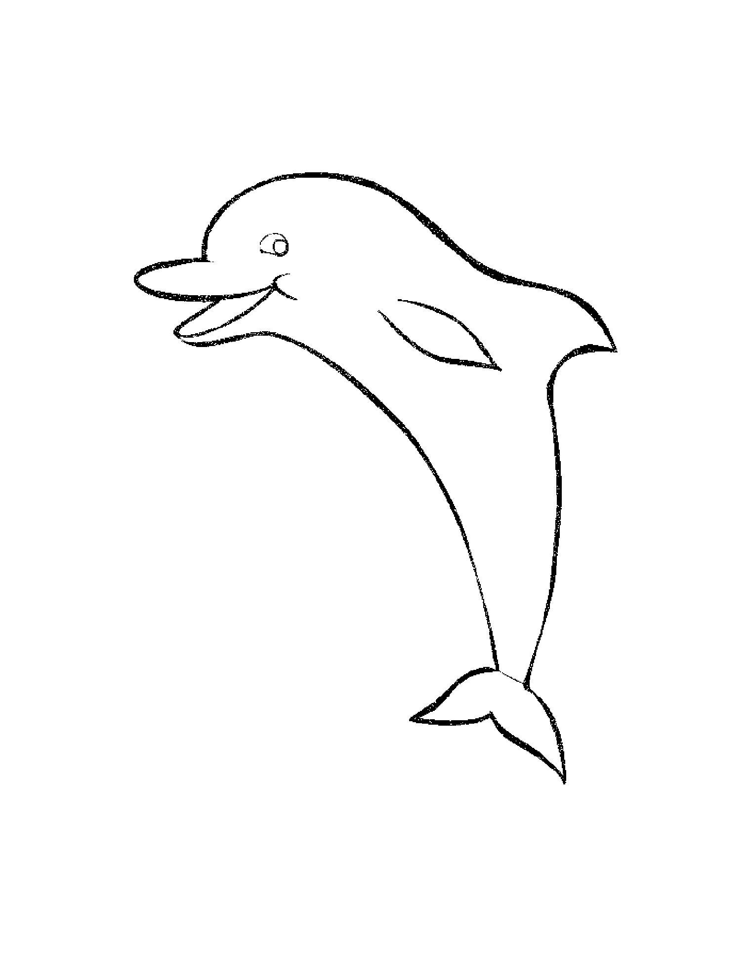 Распечатать бесплатные раскраски для детей: животные: дельфин