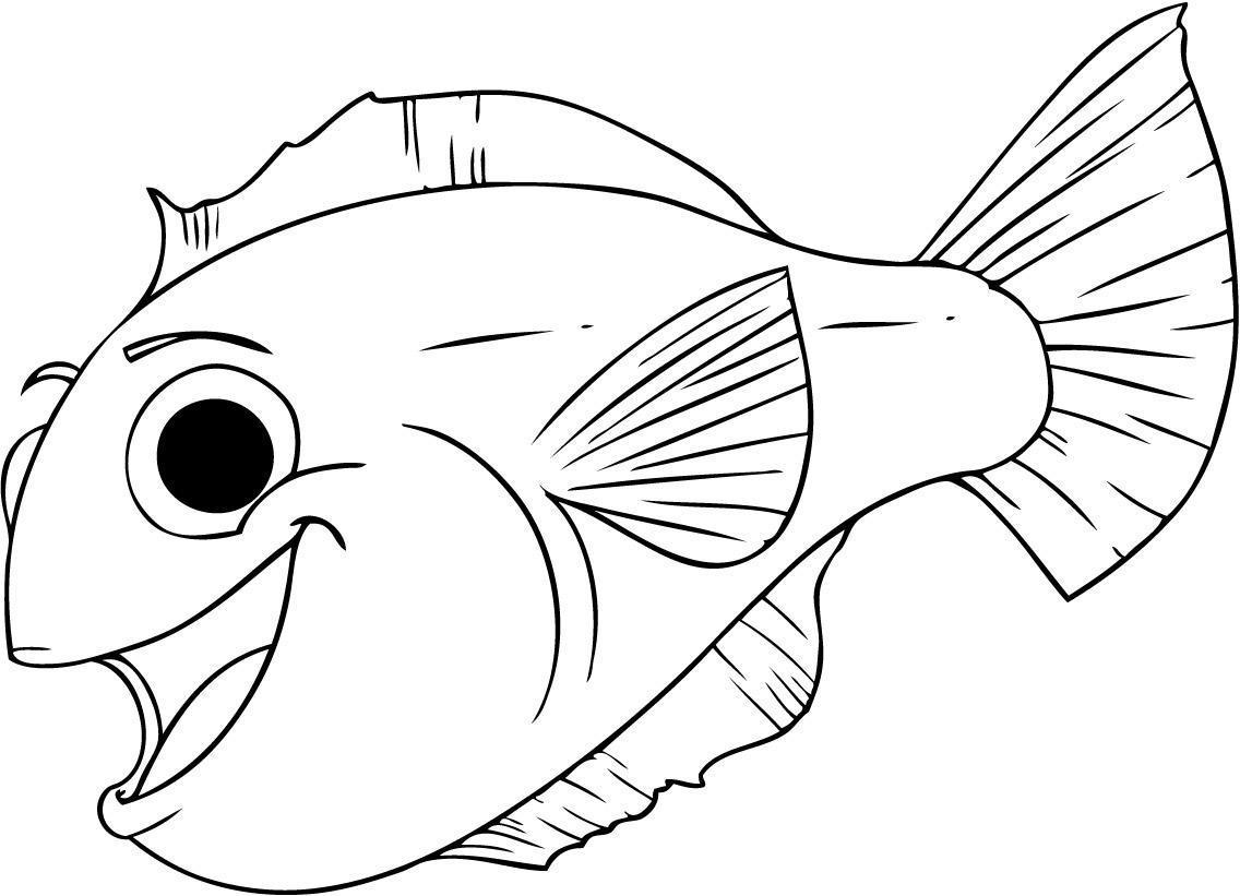 Раскраски рыбы веселая рыбка контур для вырезания из бумаги