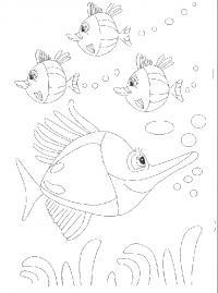 Раскраска: подводный мир, рыбки