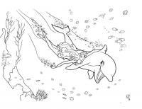 Раскраски русалка детская раскраска подводный мир,  дельфин и русалка