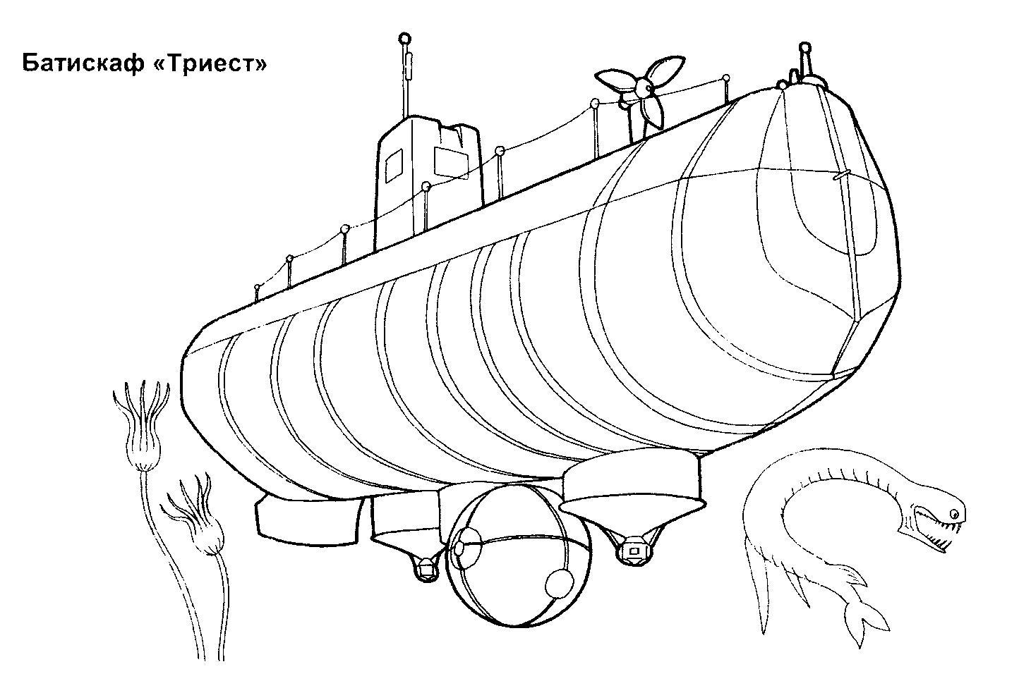 Раскраска батискаф. раскраска скачать картинку батискафа, раскраска батискаф, подводная лодка, разукраска подлодки