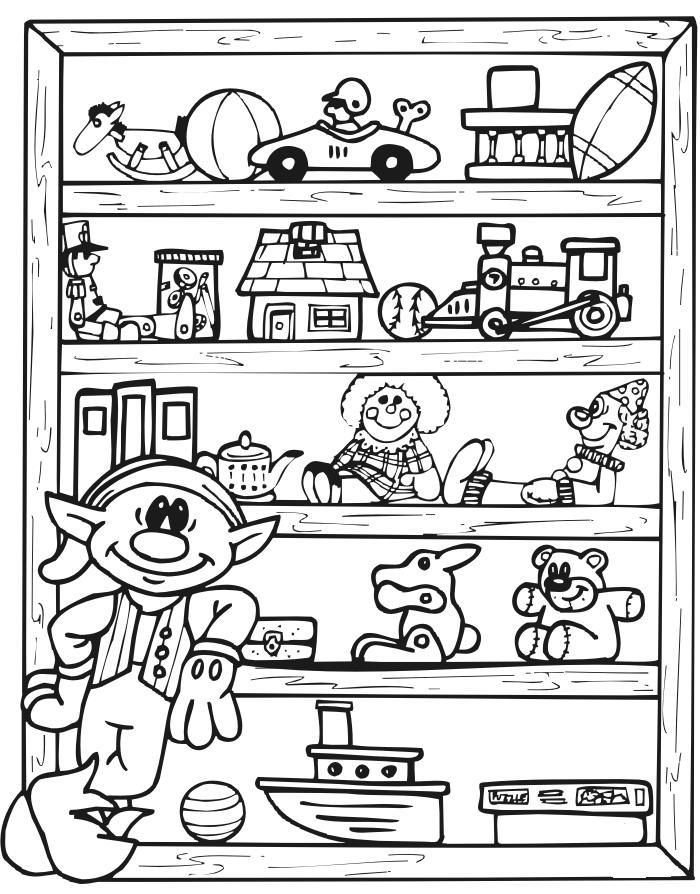 Раскраски детский мир, эльф и игрушки на полках