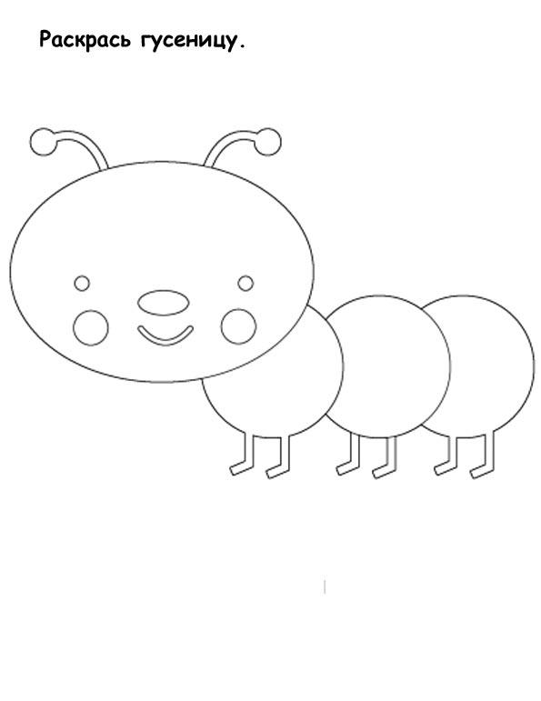 Раскраски насекомые для детей гусеница