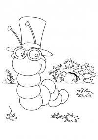 Раскраски насекомые детские раскраски, насекомые, гусеница в шляпе, гусеница