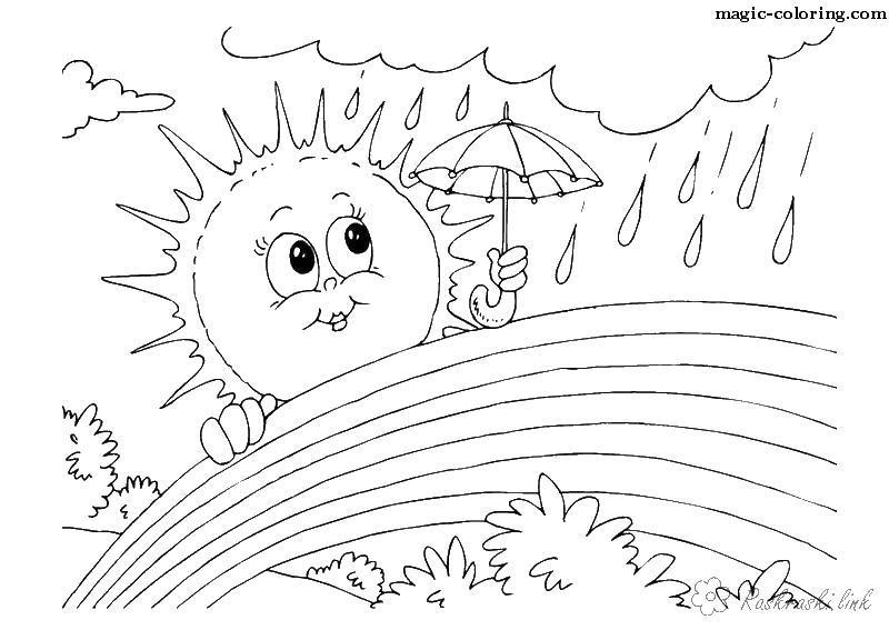 Раскраски явления раскраски для детей, явления природы, природа, дождь, радуга, солнце