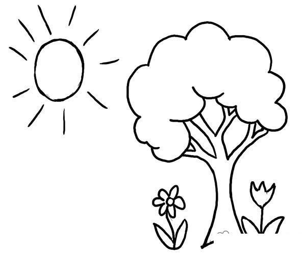 Раскраски солнце раскраска лето деревце цветочки солнышко ...