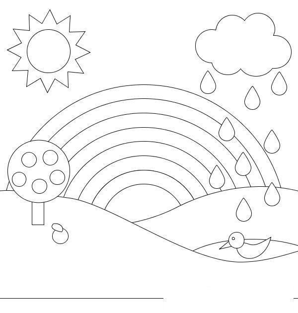 Раскраски радуга раскраски для детей, явления природы, природа, радуга, дерево, дождь, солнце