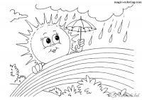 Раскраски дождь раскраски для детей, явления природы, природа, дождь, радуга, солнце