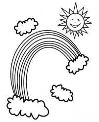 Раскраски радуга явления природы, радуга, солнце, облака