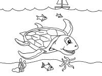 Раскраски черепаха раскраска, морская черепаха, рыбки, кораблик