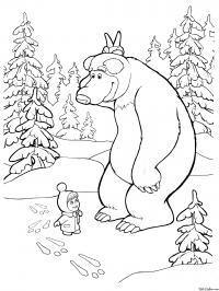 Раскраска маша и медведь нашли следы