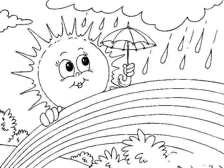 Раскраски лето раскраска лето дождик солнышко зонтик радуга