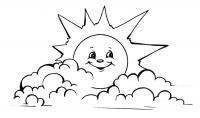 Раскраски лето солнце облака