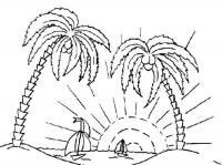 Раскраски года раскраска лето две пальмы солнце кораблики