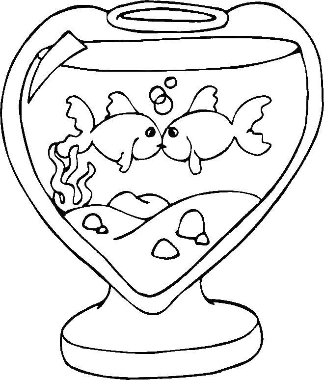 Рыбки Раскраски любовь рыбки, аквариум, сердце, любовь Раскраски распечатать