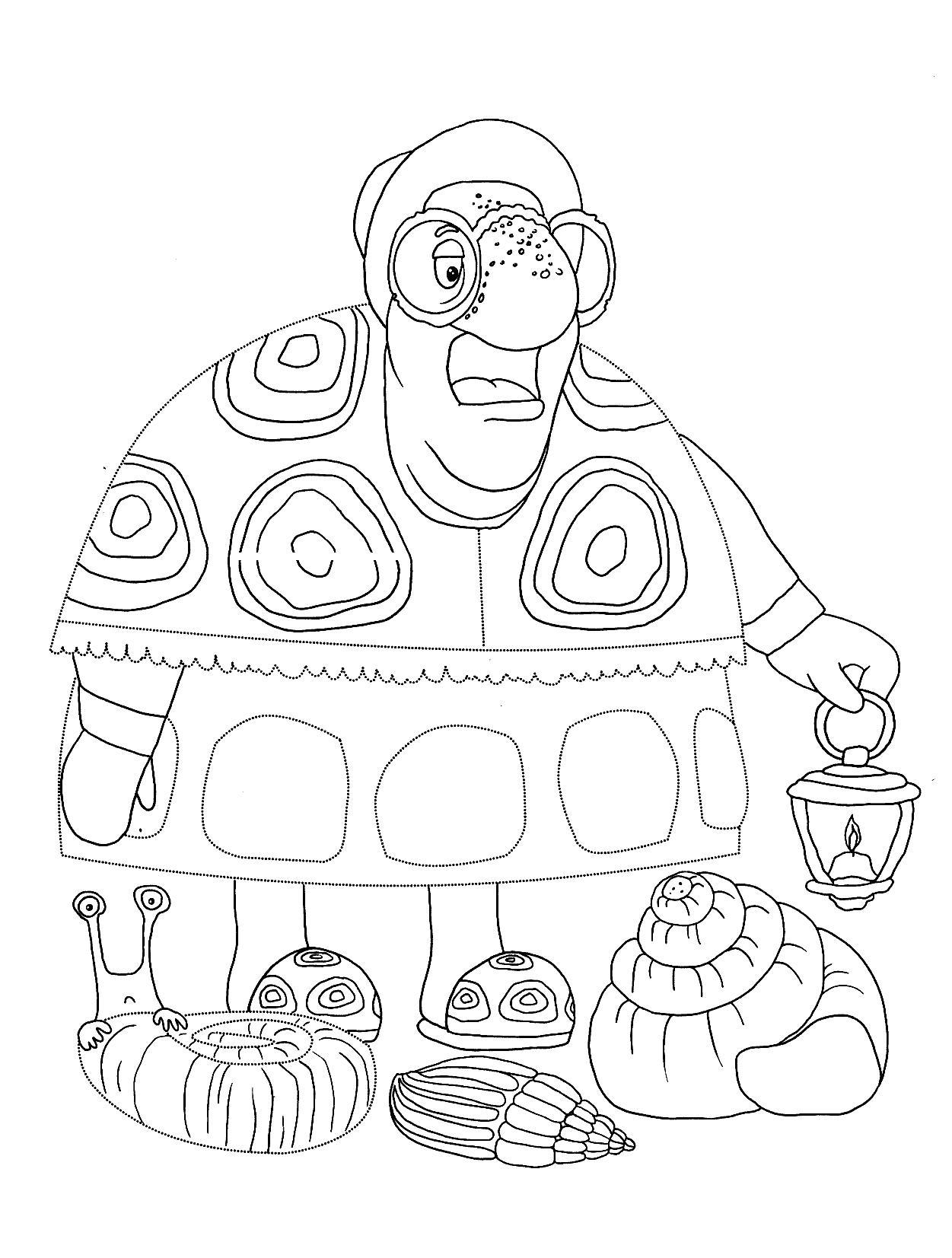 Черепаха - раскраска из мультфильма: лунтик и его друзья