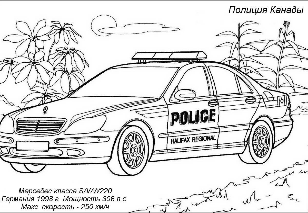 Раскраска. Раскраска автомобиль полиции. мерседес