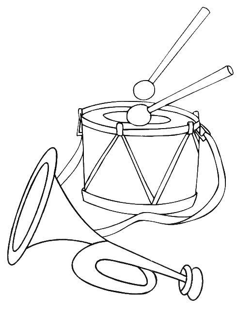 Барабан с палочками и труба