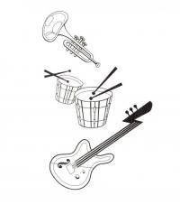 Барабан гитара и труба