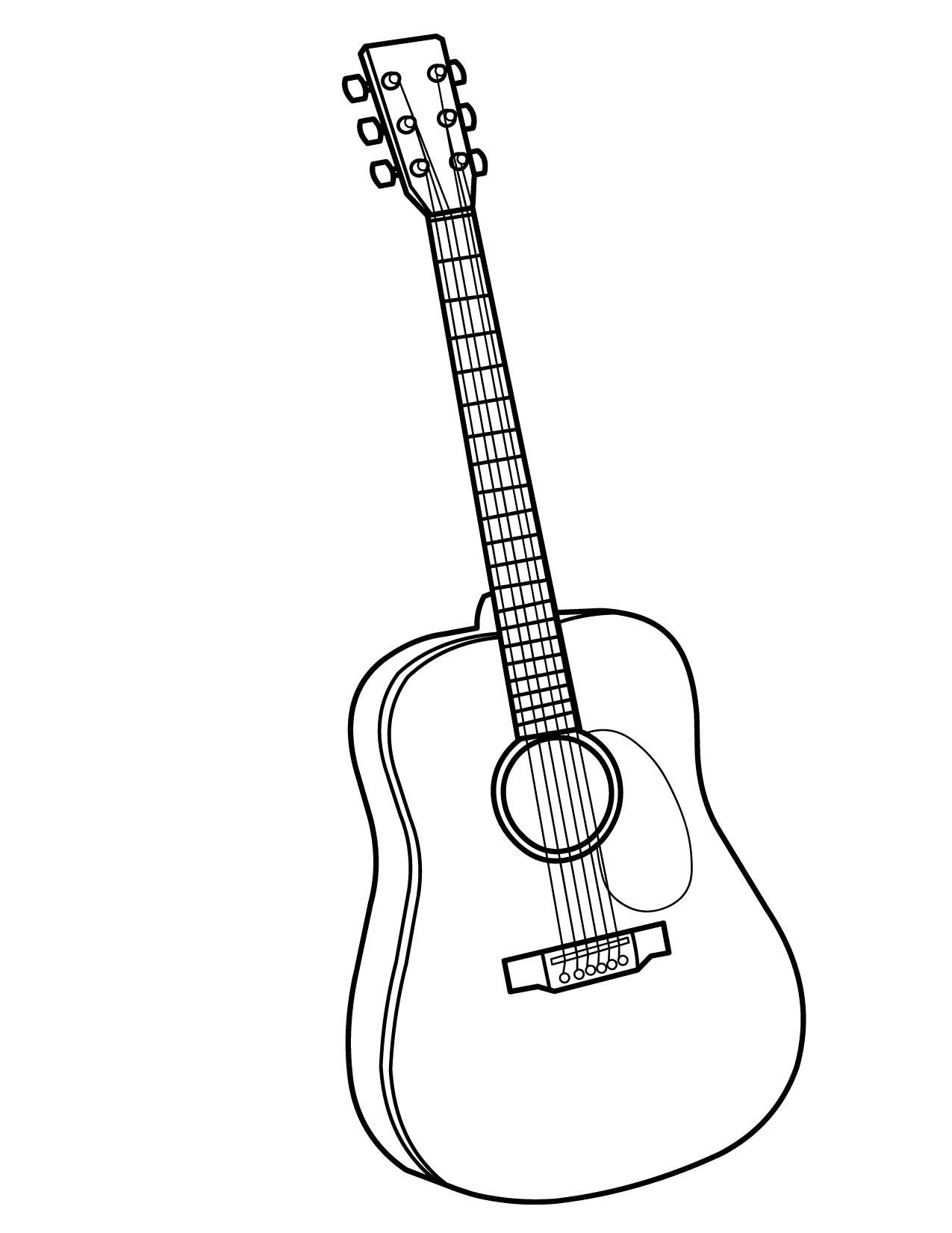 Раскраска гитара музыкальный инструмент